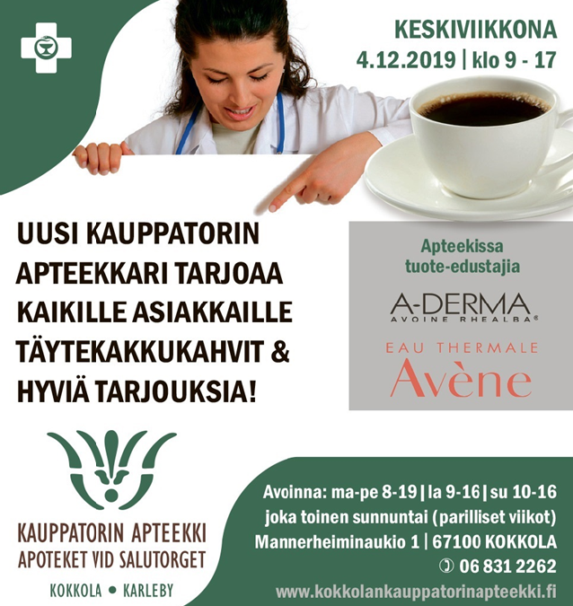 Uuden apteekkarin avajaiskahvit ke 4.12.2019